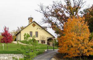 Yellow barn in autumn 2014